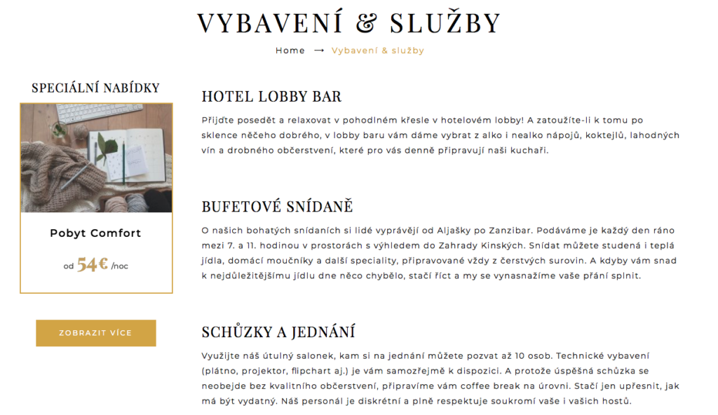 Hotel Kinsky Garden – texty na web
