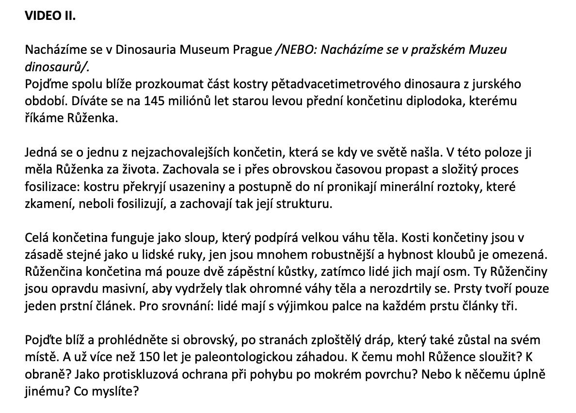 Texty pro voiceover – Dinosauria Museum Prague