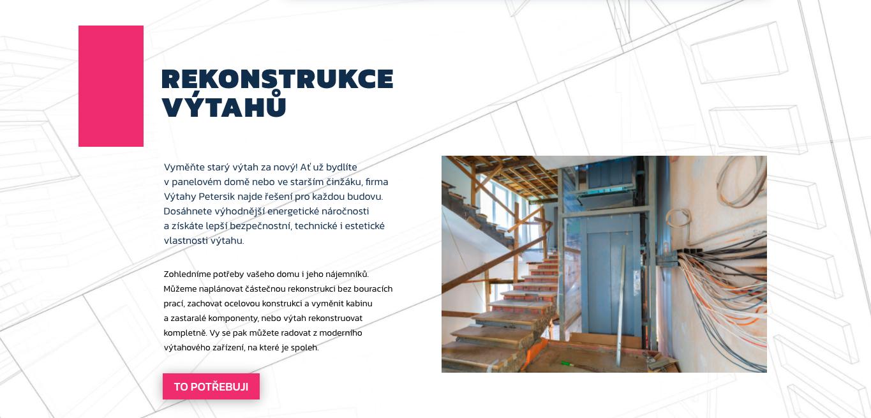 Výtahy Petersik – texty na nový web